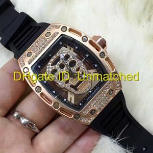 럭셔리 남성 시계 고무 스트랩 다이아몬드 다이얼 해골 배럴 모양의 패션 레저 석영 손목 시계 망 스포츠 시계