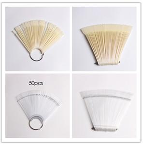 50pcs punte naturali trasparenti false false unghie display a forma di ventaglio bastone rotondo pratica polacco UV arte del gel decorazione mostra strumenti