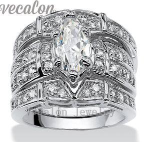 Vecalon 빈티지 약혼 결혼 반지 여성을위한 설정 마퀴스 컷 3ct Cz 다이아몬드 14KT 화이트 골드 채워진 파티 손가락 반지