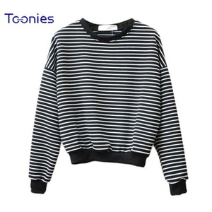 Wholesale-  Women Hoodies Horizontal Stripe Female Harajuku Casual Long Sleeve O-neck Sweatshirts Pullovers Crop Top Hoody Clothing
