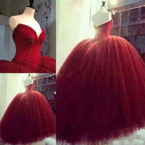 Fabulous Dark Red Quinceanera Dresses Puffy Ball Gown Sweetheart Neckline Beaded Sequins Top Luxury Sweet 16 Dress Custom Made