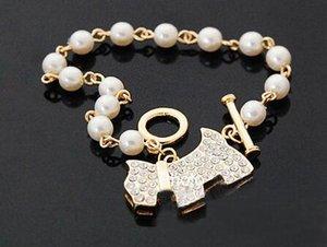 Golden Cute Bling Rhinestone Pearl Dog Link Charm Bracelet Pearl Dog Colgante Bracelet Love Bracelet Jewelry Christmas Gift