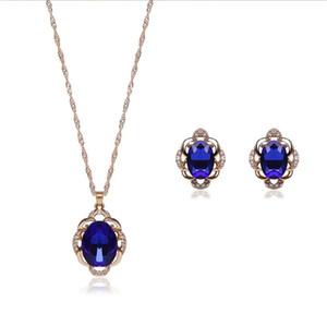 Moda 18kgp Set di gioielli in cristallo 2 colori Collana di alta qualità Set per gioielli da sposa 20 Set ordine minimo 61152235