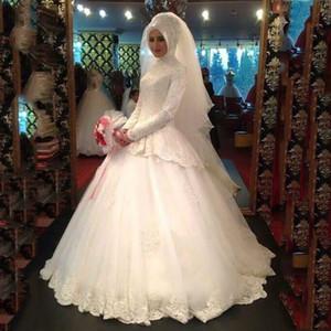 Muçulmano gola alta com véus mangas compridas vestido de baile apliques tullevintage vestidos de noiva vestido de noiva árabe plus size modesta berta gothic