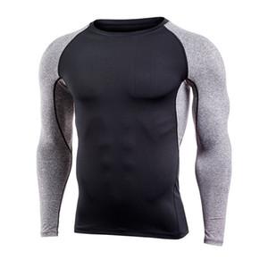 Marca Hombres compresión de secado rápido camiseta de manga larga camisa de entrenamiento de baloncesto Fitness Gym camisa de la ropa atlética Ejercicio de compresión Deporte