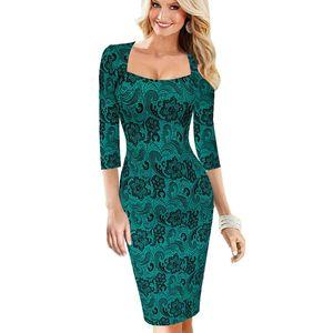 Le donne vestono l'estate Elegante stampa floreale Vestidos Lavoro Business Casual Party Be0100-2