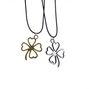 Original Vintage Silver Four Leaf Clover Necklace For Women Cute Girls Flower Pendant Necklace Female Jewelry Wedding Party Gift