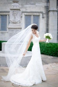 New Arrival One layer White ivory Champagne Wedding Veil Pencil Edge Bridal Veil With comb 3M length