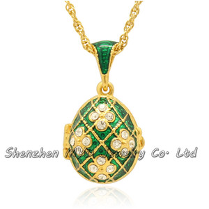 Wholesale fashion jewelry findings woman clear crystal birthston Faberge egg pendant locket necklace hand enamel with gold plating