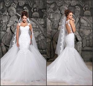 Por encargo 2015 hermosa corte tren ilusión transparente espalda con cuentas de encaje sirena vestidos de novia vestidos de novia nuevo vestido sexy CPS296
