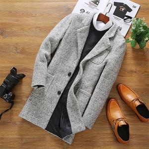 Toptan-Erkek Kürk Ceket Polar Düğme Ceket Erkek Rüzgarlık Uzun Boy Hırka Kollu Siyah Siper Mens Için Deri İngiliz f17