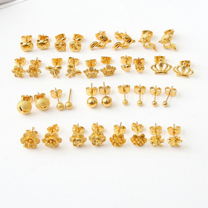 Hohe Qualität Vacuum Plating Copper Plating und 24 Karat Gold Schmuck Schmuck Gold Ohrringe Ohrringe Damen Crown kleine Schmuck Großhandel