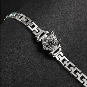 New Arrival Men Stainless Steel Bracelet Byzantine Style Men Jewelry Accessories Male Leopard Wolf Head Charm Wristband