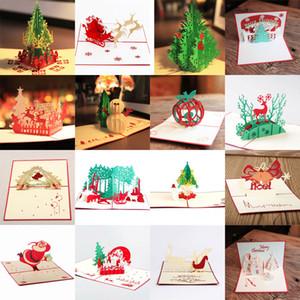 16 styles / lots Cartes de Noël 3D Pop Up Merry Christmas Series Cartes de voeux faites main faites à la main Cadeaux d'arbre de Noël