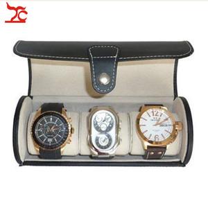 Portátil de cuero negro 3 Reloj Travel Roll Case Joyero Caja de almacenamiento Organizador del titular