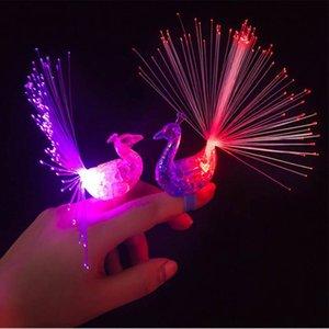 Yaratıcı Peacock LED Parmak Ring Işıklar Kirişler Parti Disko Renk Yüzük Çocuk Hediyeler Olay Parti Malzemeleri