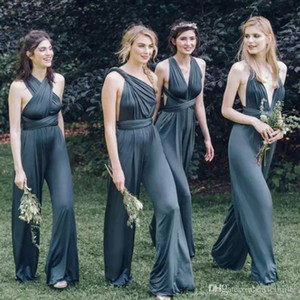 2017 Barato Custom Convertible Bridesmaids Vestidos Sexy Mix Decotes Cinza Aberto de Volta Spandex Plus Size Bridesmaid Pant Terno Praia