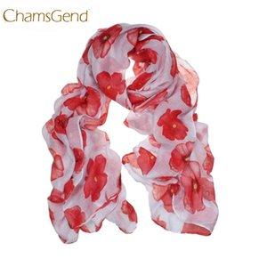 Chamsgend Newly Design Fashion Red Poppy Scarf Print Pañuelos largos Flower Beach Wrap Ladies Stole Chal July31 Envío de la gota