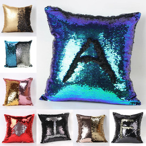 2 Tone Color Sequins Pillow Case Sofa Pearl Sequin Pillowslip Reversible Iridescent Glow Mesmerized Pillow Covers Home Decorative YC8085