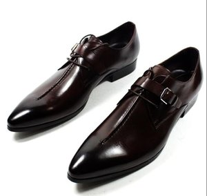 Primavera Autunno moda lusso Dress Uomo Scarpe Vera pelle fibbia scarpe da punta Classic Formal Business Suit Shoes