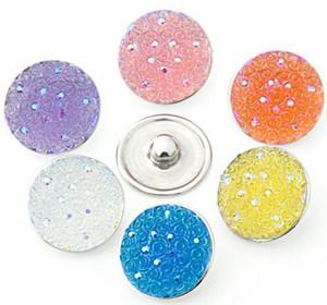 10 pçs / lote alta qualidade estrelada rodada resina gengibre snaps rodada vidro snaps pulseiras fit 18mm snaps botões jóias kz25