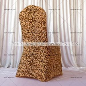 Ücretsiz Kargo 2 adet Leopar Baskı Likra Sandalye Kapak Düz Ön Düğün Dekorasyon Parti Için Yüksek Kalite Spandex Sandalye Kapak