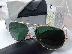 2019 Moda de metal dobradiça Mulheres Refletir Óculos 58MM Refletir lentes dos óculos de sol homens verdes Grey Lens Sport Sunglasses Com Caso Box