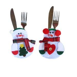 200 pcs / lot Cuisine Couverts Argenterie Détenteurs Couteaux Fourchettes Sac Santa Bonhomme De Neige Arbre De Noël Couteau Porte-Fourche De Noël Fête Décoration