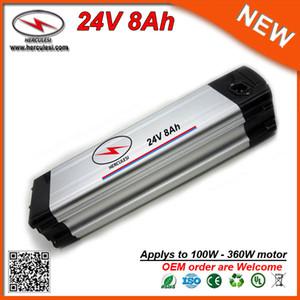 Paquete de batería Ebike Li-Ion 24V 8Ah con carcasa de aluminio de plata de alta calidad con batería de litio de 18650 celdas 15A BMS 2A Cargador