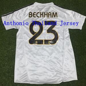 레알 마드리드 축구 유니폼 레트로 빈티지 클래식 0405 Zidane Beckham Ronaldo Carlos Raul Camisetas Futbol Camisa Futebol Maillot 드 발