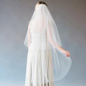 Pizzo avorio velo da sposa musulmana strass spalla breve veli da sposa accessori sposa Juliet Cap Veli 2015 uno strato bordo tagliato Applique