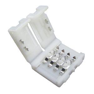 50 unids / lote 5050 RGB conector LED de tira, 10 mm 4 pines marca polaridad sin soldadura LED tira clip clip envío gratis