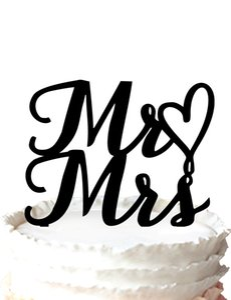 """""""Mr love Mrs"""" Wedding Cake Topper - gâteau de mariage amusant avec coeur, 37 couleurs pour l'option Livraison gratuite"""
