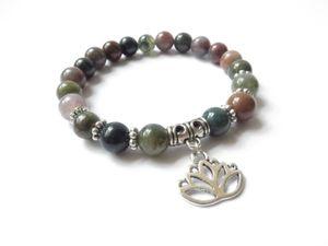 SN114 나마스테 로터스 요가 쥬얼리 말라 팔찌 스트레스 릴리프 명상 팔찌 Indian Agate Beaded Bracelet 무료 배송