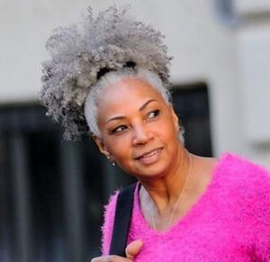 100% pelo real gris puff clip de extensión de pelo de cola de caballo afro en gris afro rizado cordón de cola de caballo pieza de cabello gris 120g