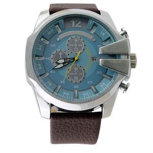 Modemarke 4281 Men Big Case Multiple Zifferblätter Datumsanzeige Lederband Quarz Herren Armbanduhr