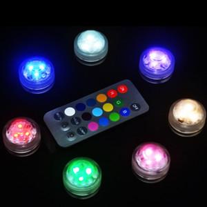 Al por mayor-10PCS Impermeable LED velas Decoración del hogar tanque de peces Luz de iluminación de agua Respetuoso del medio ambiente de la boda electrónica vela luz de buceo