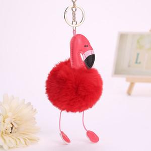 Flamingo Keychain Pu Cadeia Birds couro Key Pompom Fur chave Titular da tampa Mulheres Bag Pingente encanto Acessórios Chaveiro
