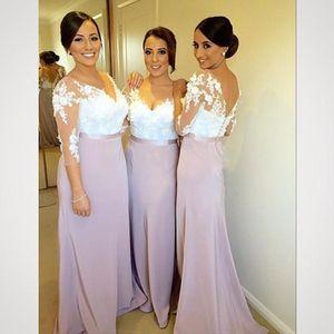 African Bridesmaid Dresses 2016 V 넥 화이트 레이스 아플리케 비즈 웨딩 롱 라일락 새틴 웨딩 플러스 사이즈 파티 메이드 오브 아너 가운