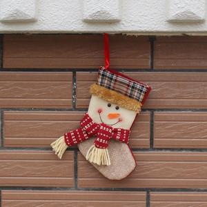 Neues design weihnachtsstrümpfe socken plaid weihnachtsmann süßigkeiten geschenk tasche weihnachtsmann schneemann baum hängen ornament dekoration