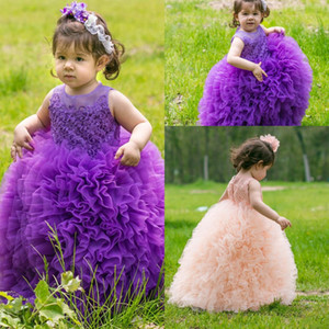 New Purple Pink Toddler Girl's Pageant Dresses Sheer Girocollo Pizzo Appliques Ball Gown Principessa Cute Baby Girls Flower Girl Dresses