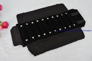2 pcs Nova Chegada de Exibição de Jóias Embalagem de Veludo Preto Mini Anéis Portáteis Transportando Caso Jóias Rolo Saco com 10 anel travesseiro