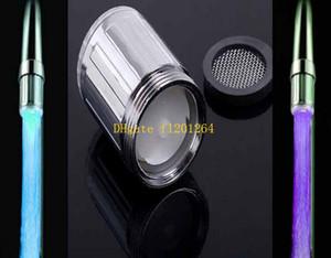 100 pçs / lote Frete Grátis 7 Cores Mudando Acessórios Do Banheiro Da Cozinha Brilho LED Light Stream Water Faucet Tap