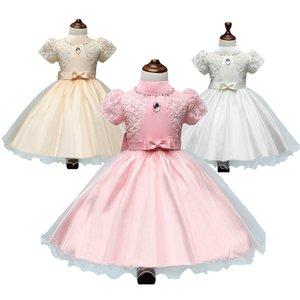 Prettybaby niños niñas de manga corta vestido de fiesta de encaje princesa estilo coreano bordado de gasa perla tutú vestidos con bowknot Pt0480 # mi