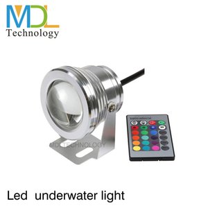 Wholesale-10W COB Swimming Pool LED Spot Light Underwater IP68 12V 1000LM Waterproof Fountain Light RGB 16 Color Change Remote Controller