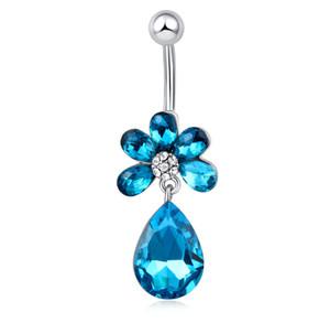 Горячие продажи высокое качество большой синий Diamon пупок бар пупок кольца пирсинг пупка тела кольцо ювелирные изделия для молодой леди BR-050