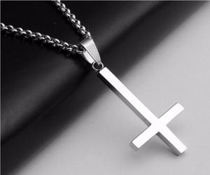Горячая перевернутый крест Святого Петра титана стали нержавеющей стали 316L кулон ожерелье Люцифер Сатана мода старинные панк ювелирные изделия