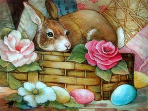 Сделай сам алмазная картина для вышивки крестом наборы смолы вставил живопись полный квадрат дрель рукоделия мозаика домашнего декора животное кролик цветок zxh0141