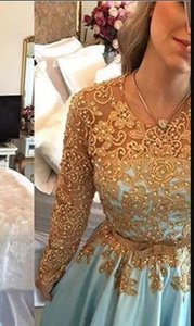 Очаровательная светло-голубое золото кружева вечерние платья с длинным рукавом бисером пояс ближневосточный арабский Пром платье партии платье