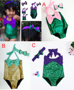 2016 nouveau bébé filles 3 conception sirène maillots de bain enfants Big Bow maillot de bain bikini costume de bain maillots de bain avec arc bandeau tenue Livraison gratuite